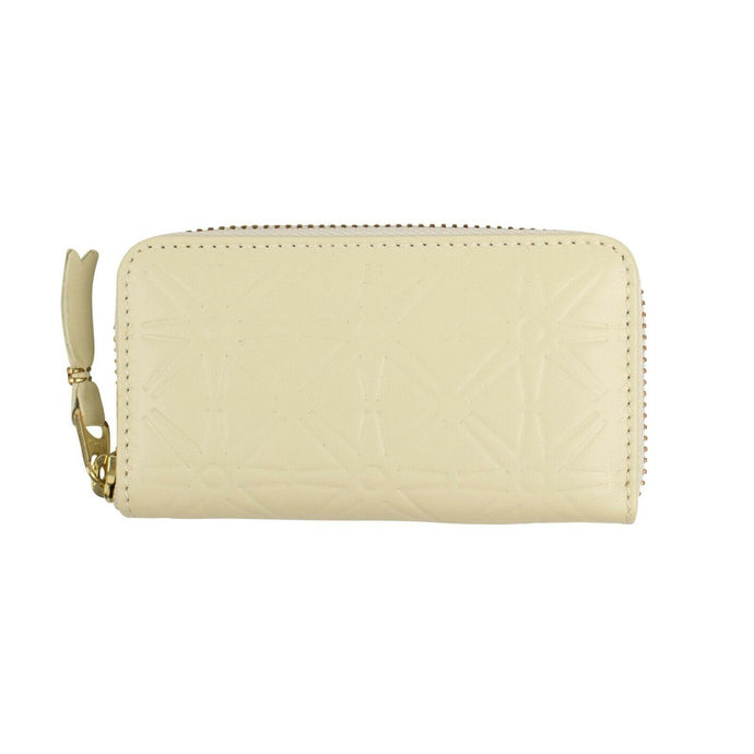 Leather Star Embossed Mini Wallet Coin Purse - Ivory