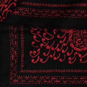 Paisley Cards Cashmere-Silk Scarf - Red / Black