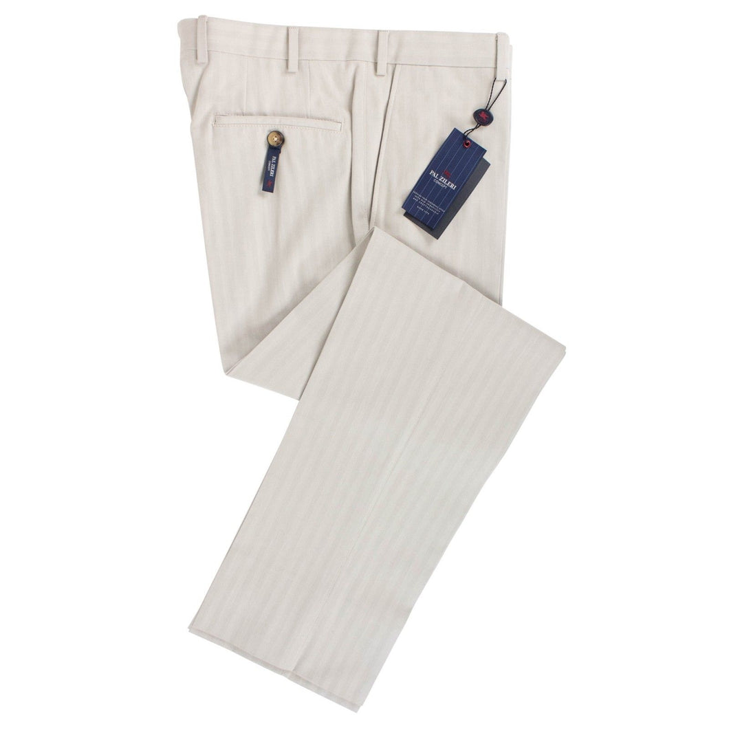 Beige Striped Cotton Dress Pants