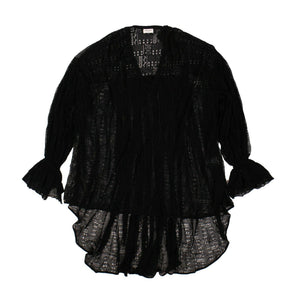 Sheer Oversize Blouse - Black