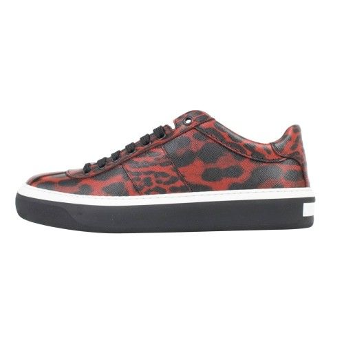 Portman Leather Lace-Up Low-Top Sneakers - Red / Black
