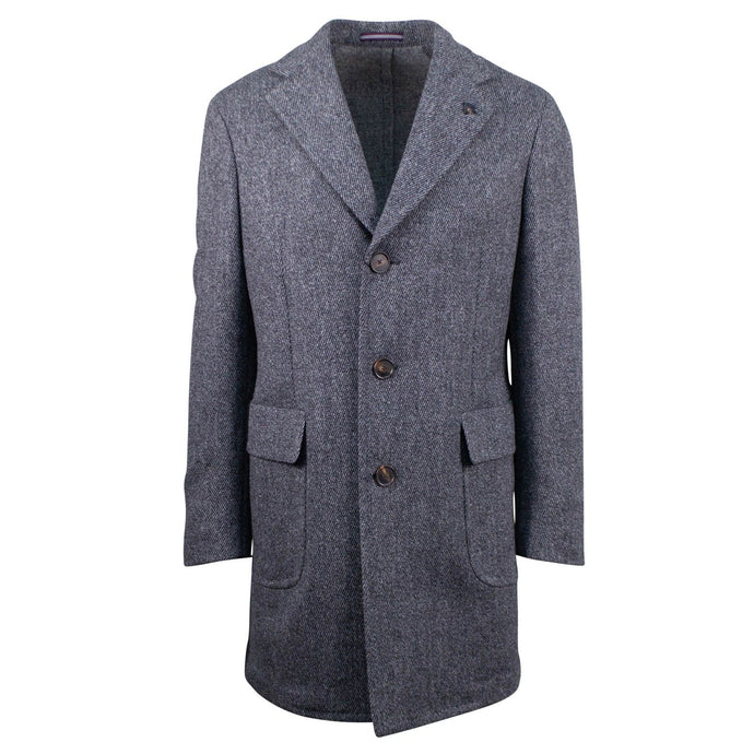 Gray Tweed Wool Slim Fit Coat