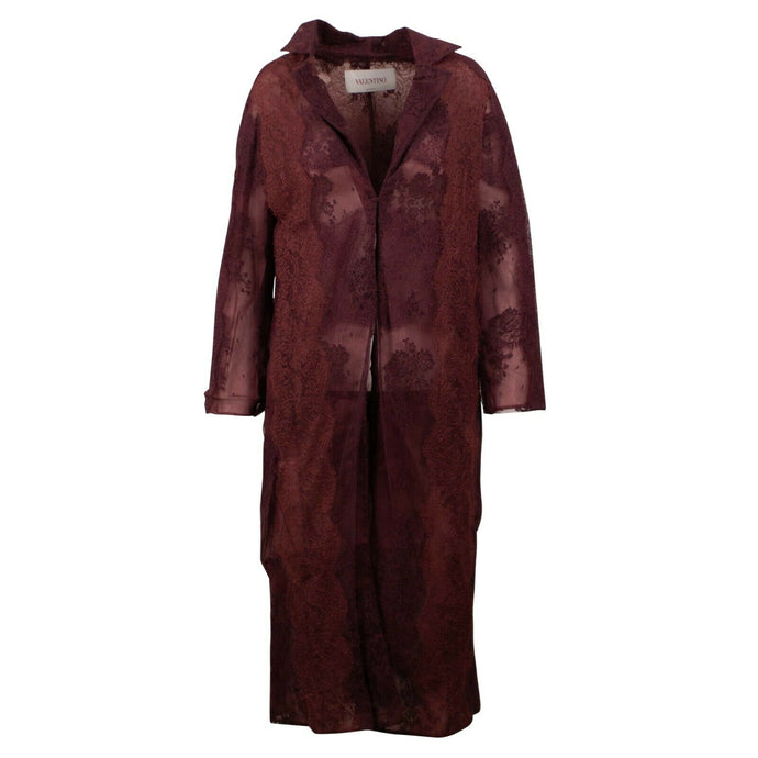 Sheer Lace Long Summer Coat - Burgundy