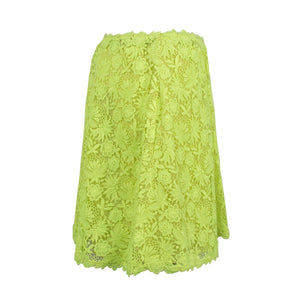 Floral Embroidered Skirt - Neon Yellow