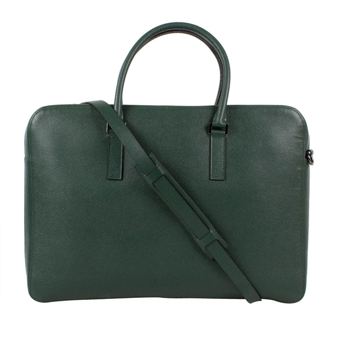 Pebbled Leather Double Handle Briefcase - Green