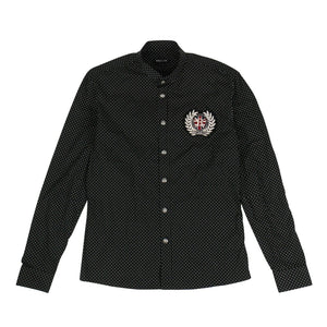 Cotton Polka Dot Logo Patch Button Shirt - Black