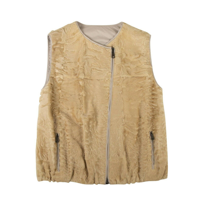 Astrakhan Fur Reversible Jacket Vest - Yellow