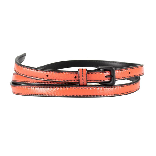 Skinny Leather With Black Buckle Belt - Orange