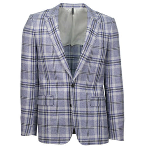 Drop 10 Plaid Wool 3 Roll 2 Button Sport Coat - Purple