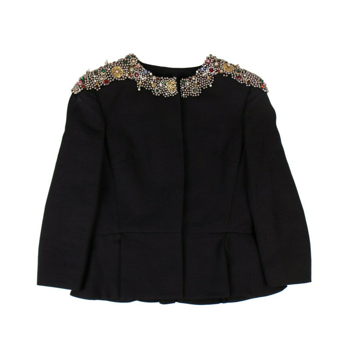 Embellished Peplum Jacket - Black