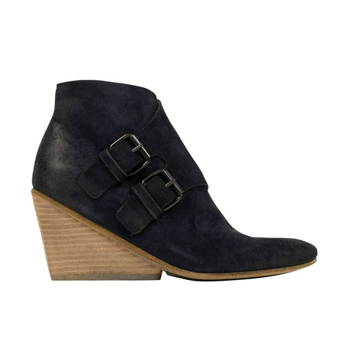 Distressed Calf Skin Leather Boots - Blue