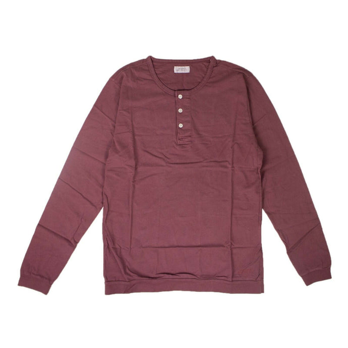 'Mitch Pima' Henley Long Sleeve T-Shirt - Light Plum