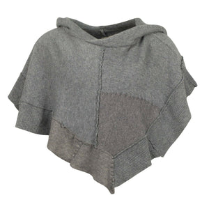 Patchmere Cropped Hoodie Poncho (O/S) - Gray