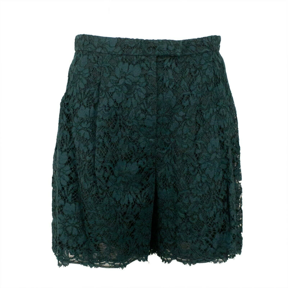 Floral Lace Cotton Blend Shorts - Green