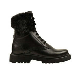 Leather Mink-Fur 'Patty' Combat Boots - Black