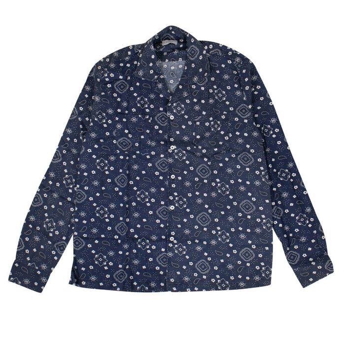Cotton Bandana Long Sleeves Shirt - Blue