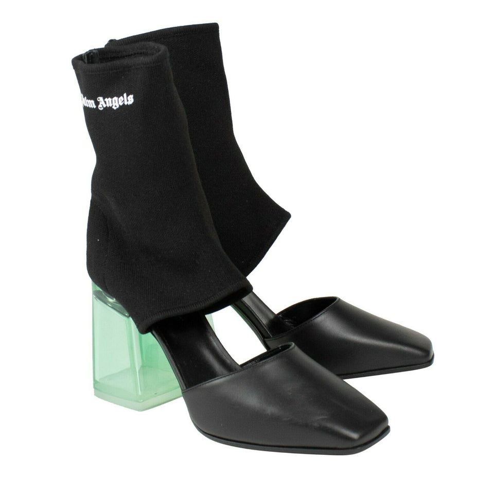 Sock Cutout Plexi Heel Ankle Boots - Black / Green