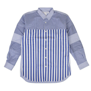 Cotton Stripe Long Sleeves Poplin Shirt - Blue
