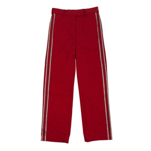 Wool Side Striped Tailored Trousers - Red