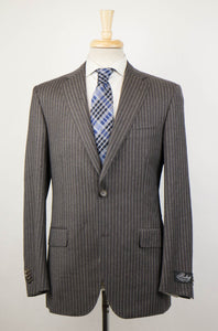 Striped Wool 2 Button Suit - Brown