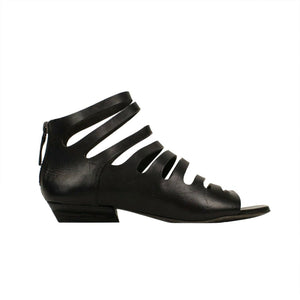Sandaletto Calf Skin Leather Heels Sandals - Black