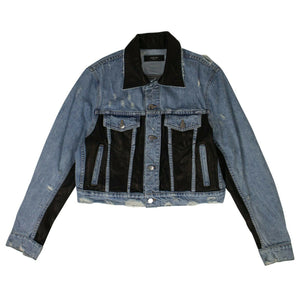 Denim Leather Panel Tucker Jacket - Blue
