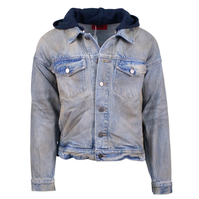 Mechanic Wash Denim Trucker Detachable Hood Jacket - Faded Denim
