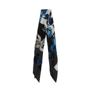 Floral Silk Bag Strap - White/Blue And Black