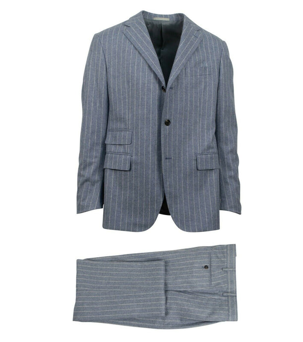 Drop 7 3 Roll 2 Button Trim Fit Wool Suit - Blue