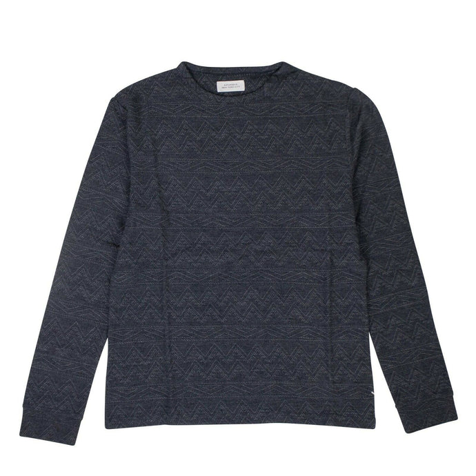 Cotton Graham Jacquard Long Sleeve T-Shirt - Blue