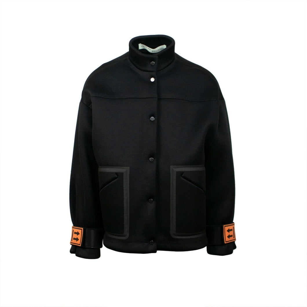Oversize Scuba Button Front Jacket - Black / Orange