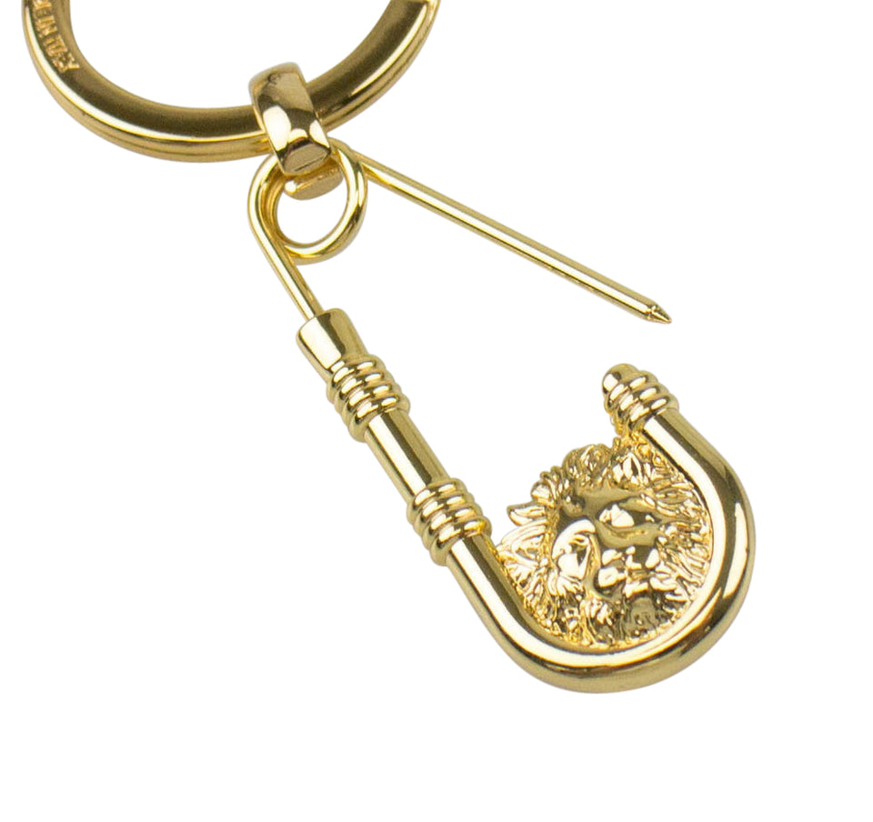 Lion Head Safety Pin Keychain - Gold