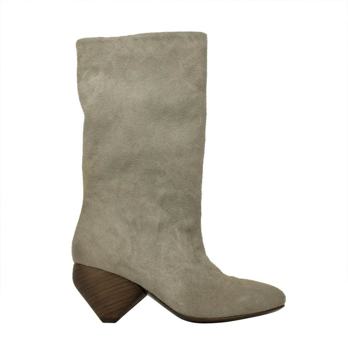 Slouchy Distressed Deer Leather Boots - Gray