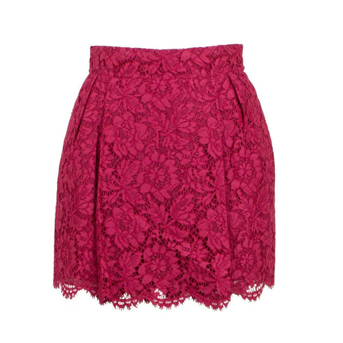 Lace Pleated Skirt - Fuchsia