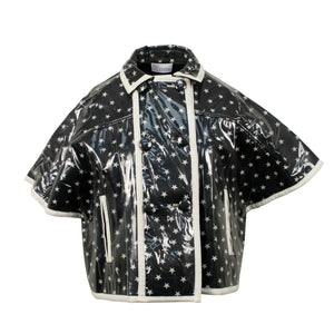 Star Print Plastic Short Sleeve Coat - Black