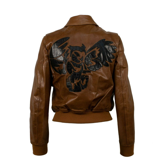 Large Owl Logo Bomber Jacket - Brown