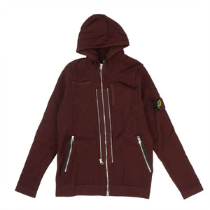 'Shadow Project' Zip-Up Perforated Sweater - Burgundy