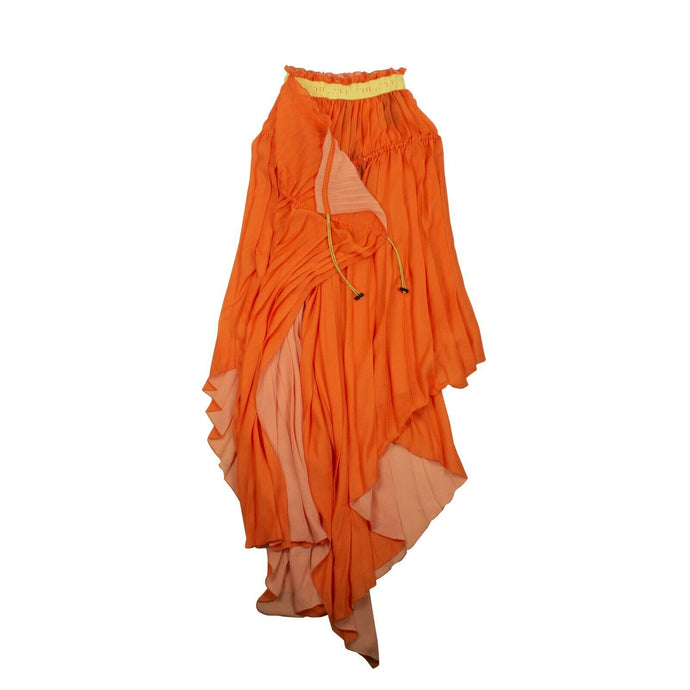 Pleated Drawstring Dress - Orange