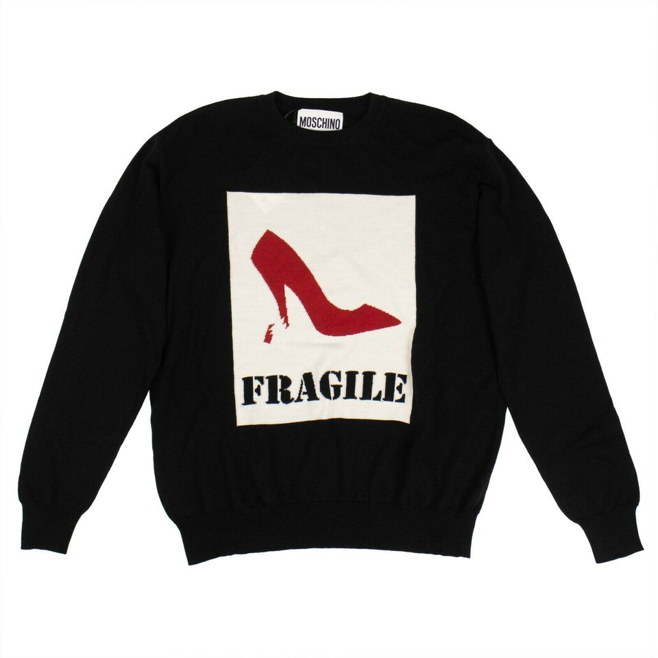 Graphic 'Fragile' Knit Sweater - Black
