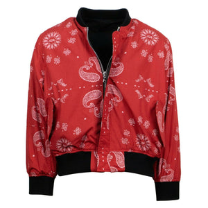 Reversible Paisley Bomber Jacket - Black/ Red