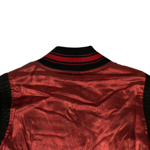 Silk Metallic Varsity Jacket - Red
