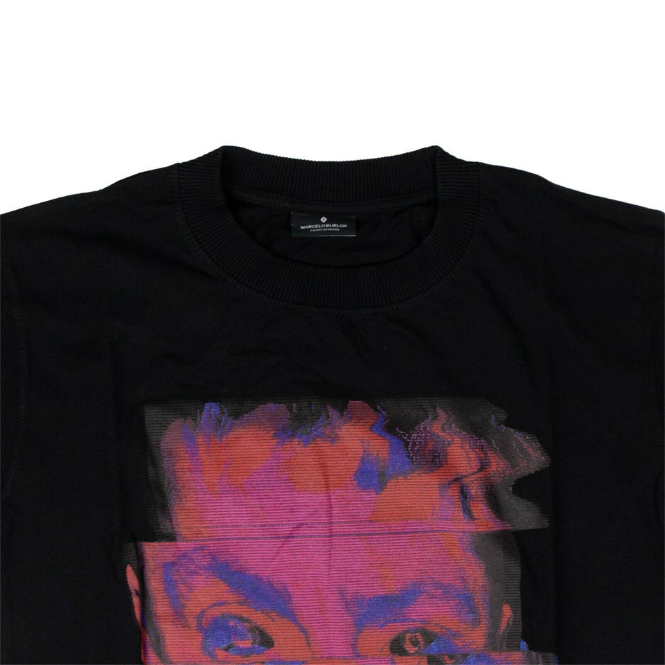 Cotton 'Blurred Child' T-Shirt - Black