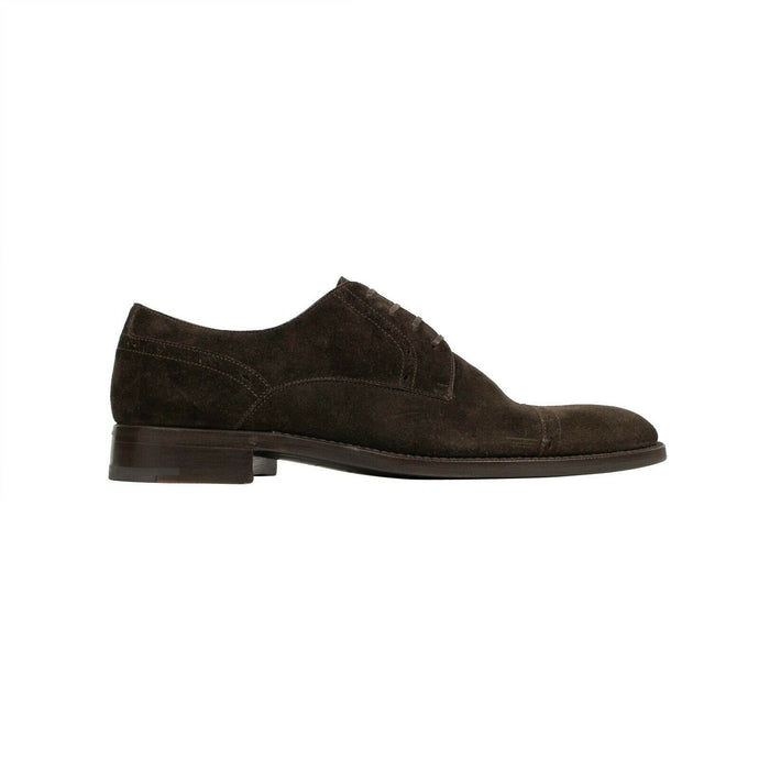 Suede Cap Toe Derby Shoes - Brown