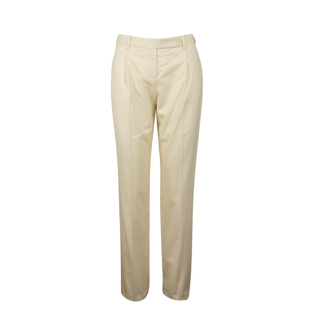 Wool Blend Pleated Pants - Ivory