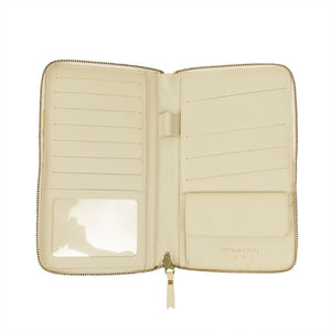 Leather Star Embossed Travel Organizer Wallet - Cream