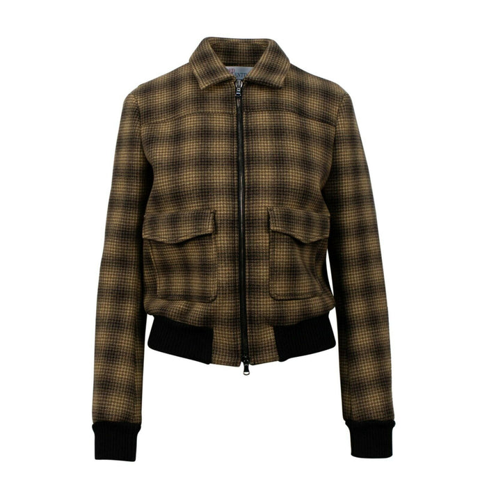 Houndstooth Check Print Bomber Jacket  - Brown