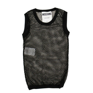 Cotton Mesh Fishnet Vest - Black