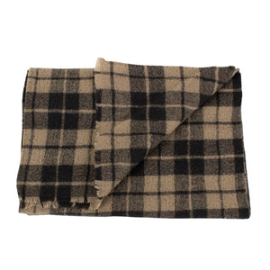 Luxurious Men's Beige Plaid 100% Wool Scarf