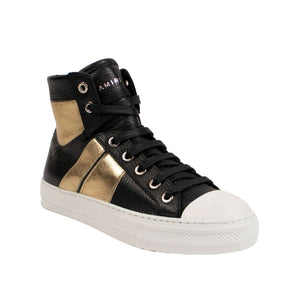 Leather 'Sunset' Sneakers - Black/Gold