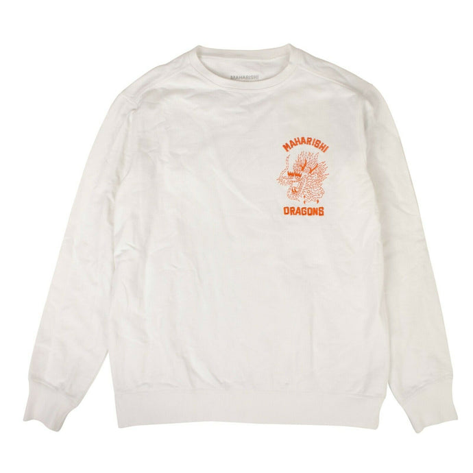 Cotton Stencil Dragon Chest Crew Sweater - White
